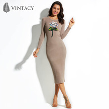 Vintacy 2017 New Autumn Winter Knitted Dress Women Sexy Sheath Bodycon Midi Dresses Pullover Split Sequin Flower Sweater Dress