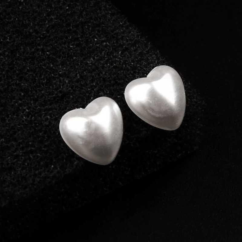 Mini Wit Hart Stud Oorbellen voor Vrouwen Plastic Resin Verklaring Oorbellen Pendientes Mujer Moda 2019 Groothandel