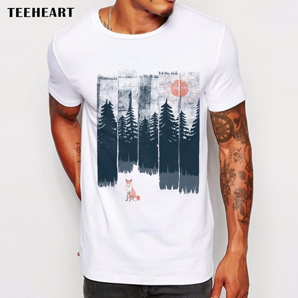 Men's 2017 Fashion Vintage Pines Eagles Mountain Design T Shirt Boy Cool Tops Hipster Printed Summer T-shirt