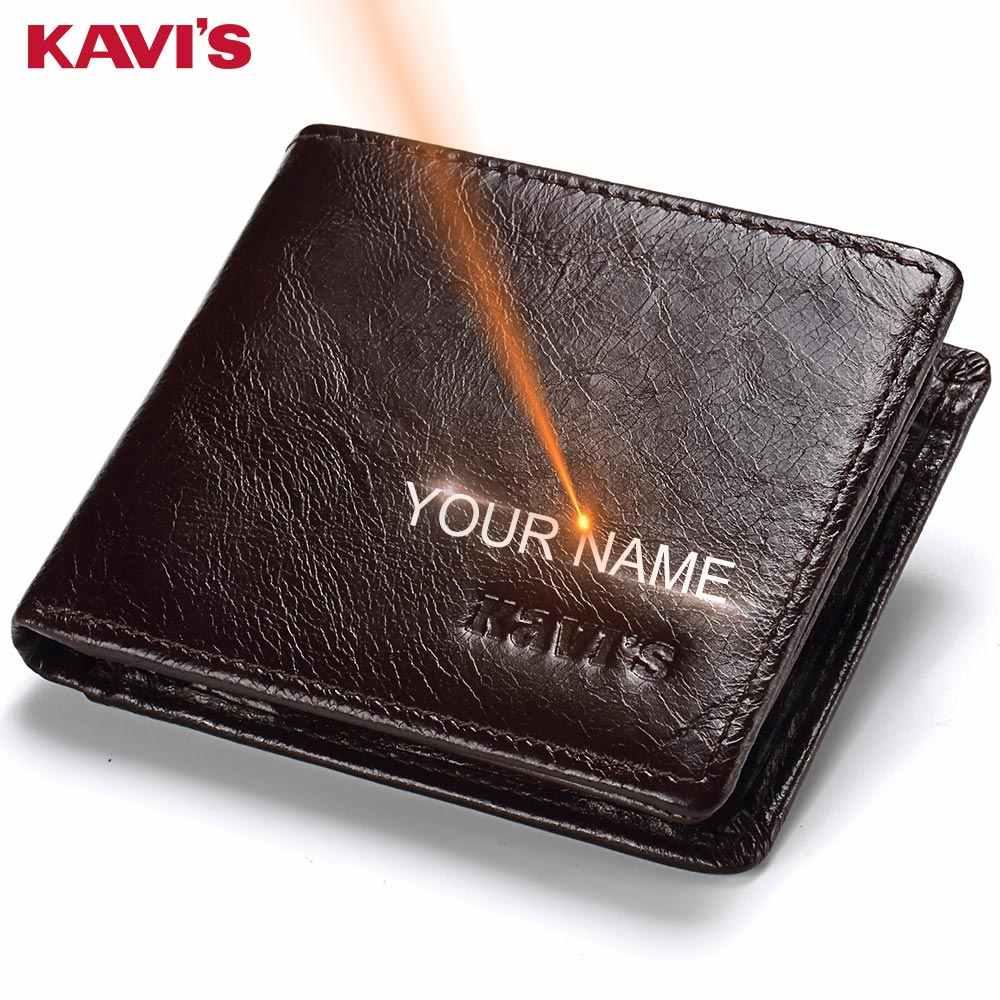 KAVIS Rfid Бесплатная гравировка 100% натуральная кожа кошелек мужской кошелек Portomonee отделение для карт держатель мужской Cuzdan Perse имя