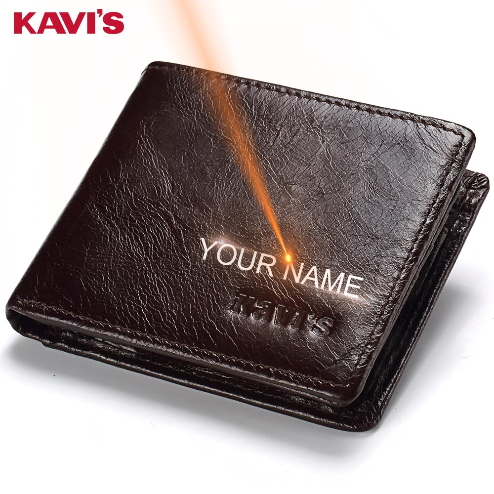 KAVIS Rfid Free Engraving 100% Genuine Leather Wallet Men Coin Purse Portomonee PORTFOLIO Card Holder Male Cuzdan Perse Name