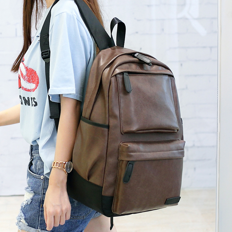 Unisex Men Women s Pu Leather Backpacks Vintage Bag Black Large Capacity Man Travel Bag College