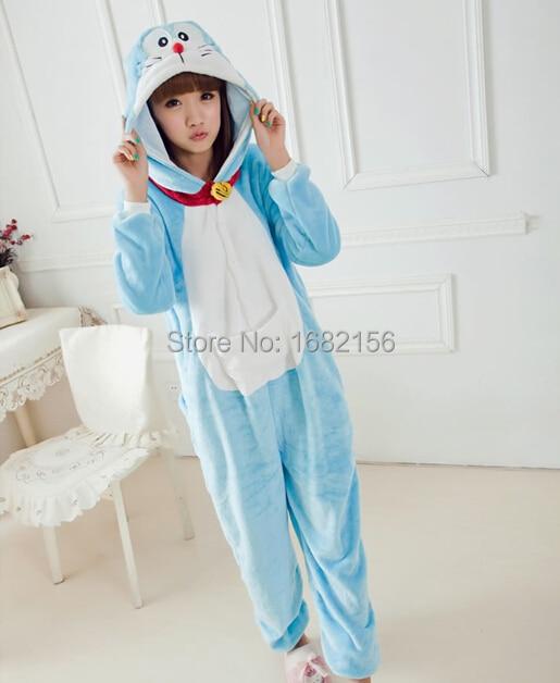e1e9ae7457 Kigurumi Unisex Adult Onesie Blue Cat Costume Cosplay Children Pajamas  Flannel Animal Pyjamas