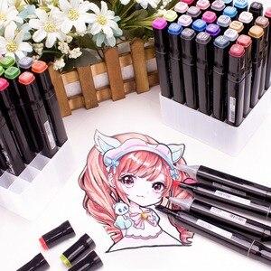 Image 3 - Rysowanie malowanie markery Pen Art podwójna końcówka na bazie alkoholu atrament dla artysty Manga na bazie Marker pędzel zestaw papeterii zakreślacz