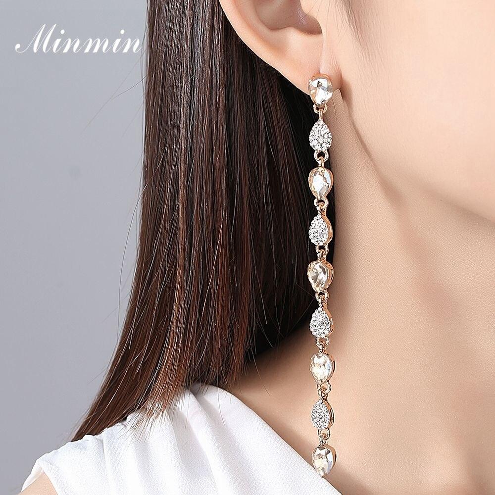 d04d2c6858ae5 Minmin Trendy Tear Drop Gold / Silver Color Crystal Long Chain ...