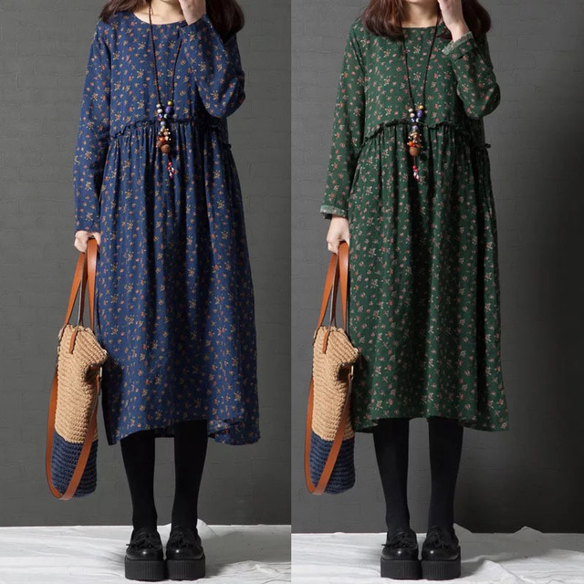 9578150100 Korean Robe Longue Femme Dames Jurken Boho Rockabilly Loose Pluse Size Cotton  Linen Floral Print Long