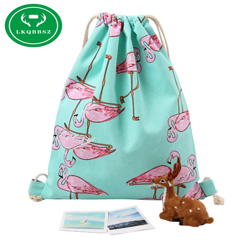 LKQBBSZ Girls Shoulder Bags Drawstring Travel Canvas Bags Zoo Flamingos Cartoon  Backpack Women Shoes Storage Bags