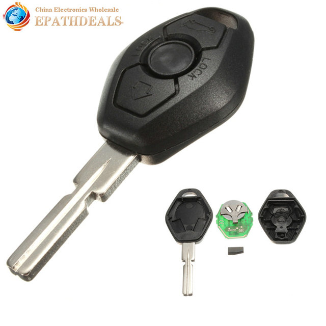 433Mhz 3 Buttons Keyless Entry Remote Control Car Key Shell Uncut Blade Auto Keys Case Cover Replacement for BMW 3/5/7 Series