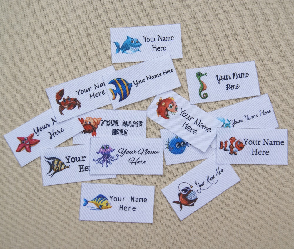 128 Personalized Waterproof Name Labels Hearts Label Custom Polyester Labels