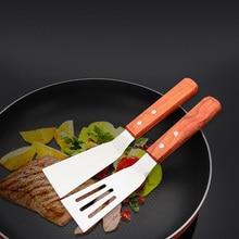 Деревянная ручка из нержавеющей стали стейк гриль лопатка для выпечки лопатка для пиццы Сырная лопатка