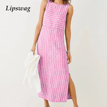 Lipswag 5XL Musim Panas Kasual Tanpa Lengan Strip Split Sundress Fashion O-Leher Gaun Pesta Elegan Plus Ukuran Gaun Pantai Vestidos(China)
