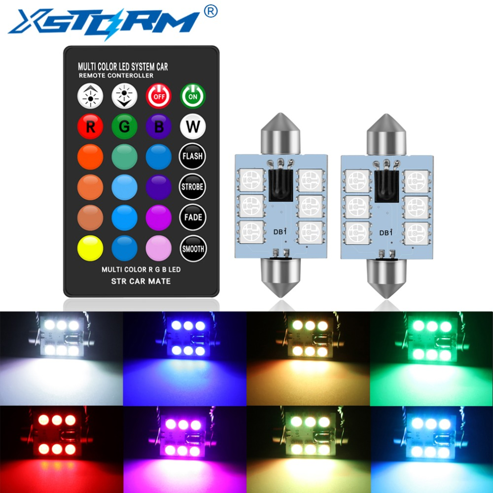 XSTORM C5W LED 31mm 36mm 39mm 41mm C10W Festoon RGB LED Car Inteiror Bulb Dome Light Reading Door Lamp 12V With Remote Control