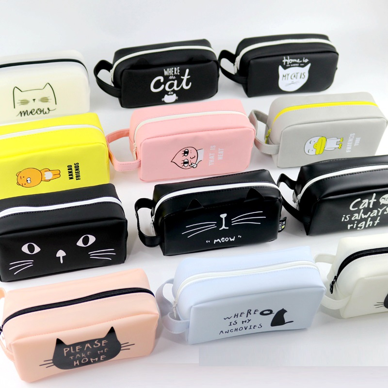 Pencil Bag Cat Pencil Case Super Big Silicone Students School Supplies Stationery Gift Cute Pencil Box Candy Color Pencil Case snack pencil case