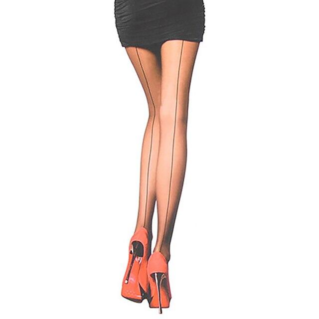 Сексуальные женские ультра прозрачные линии сзади шва Колготки Чулки сетчатые колготки