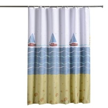 Sailboat Style Bathroom Shower Curtain Thick Waterproof Polyester Proof Bath Tub Curtain With Hooks window sailboat sea waterproof bath curtain