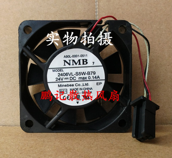 NMB-MAT 2406VL-S5W-B79 BE1 Server Square Fan DC 24V 0.14A 60x60x15mm 3-wire free shipping for nmb bg1203 b058 p00 l2 dc 24v 1 30a 3 wire 3 pin connector 50mm 120x120x32mm server blower cooling fan