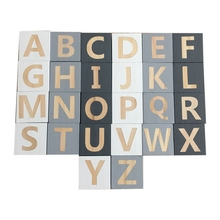 Wood Alphabet Number Blocks Set Kids Natural Letter Building Craft Early Learning Educational Toys Baby Room Decor