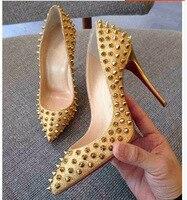 Hot Fashion Rivets Women Pumps Stilettos High Heel 11CM Wedding Shoes Club Single Shoes Silver Gold Elegant Ladies Wedding Shoes