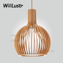wood pendant lamp suspension lights hanging light modern bird cage lighting atrium lounge restaurant hotel design light fixture