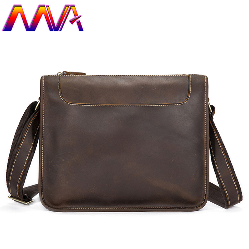 MVA Newly design cross shoulder bag with quality genuine leather men shoulder bag for fashion business men messengers bags brand qinzhi 8pcs handmade makeup brushes set goat squirrel horse hair make up cosmetic tools powder blush eye shadow brush