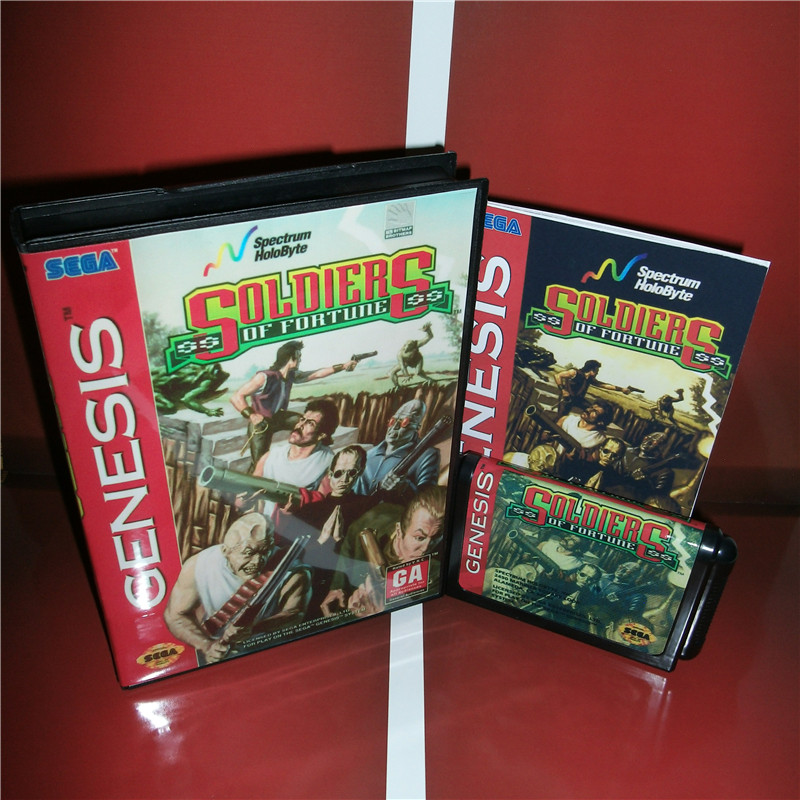 Soldiers of Forture US Cover with box and manual For Sega Megadrive Genesis Video Game Console 16 bit MD card