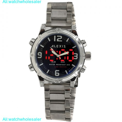 AW802C Date LED BackLight Water Resist Men Dual Time Alexis Analog Digital Watch