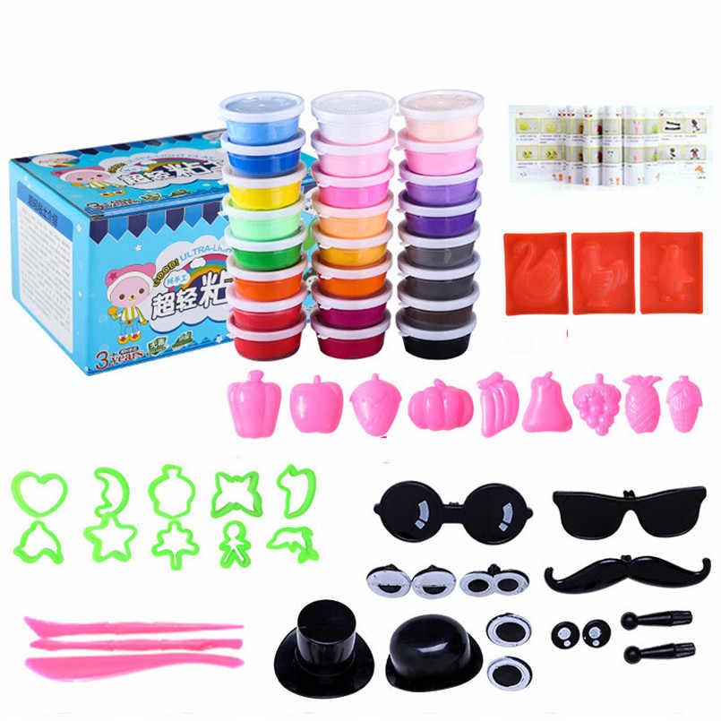 24 цвета DIY супер легкий набор глины для моделирования детские игрушки мягкий воздух сухой фимо Полимерная глина Пластилин масса для лепки тесто с инструментами