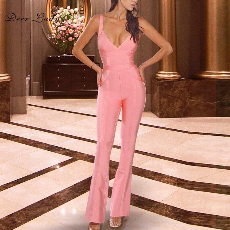 Sexy Pantalon Nouveautés 2018 Col Dame Salopette Cerfs Long V Profond Femmes Rose Body Moulante Bandage En D'été ngXfwZp