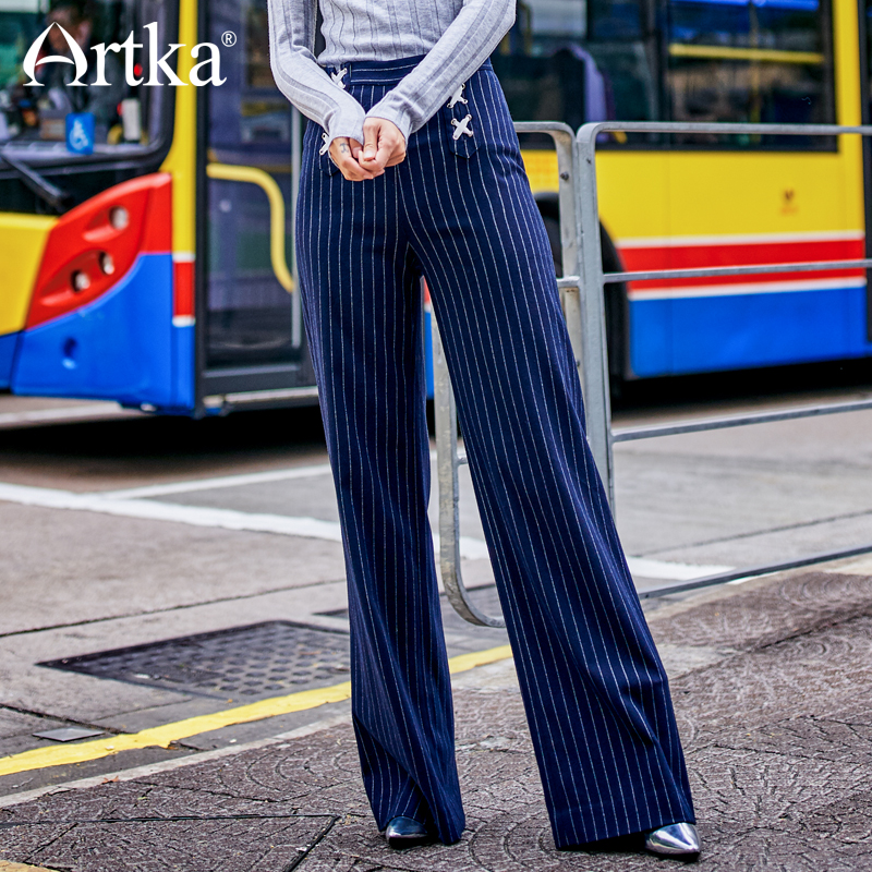 ARTKA 2018 New City Series Winter Women Retro   Wide     Leg     Pants   Bandage Striped Slim High Waist Full Length   Pants   JK17041