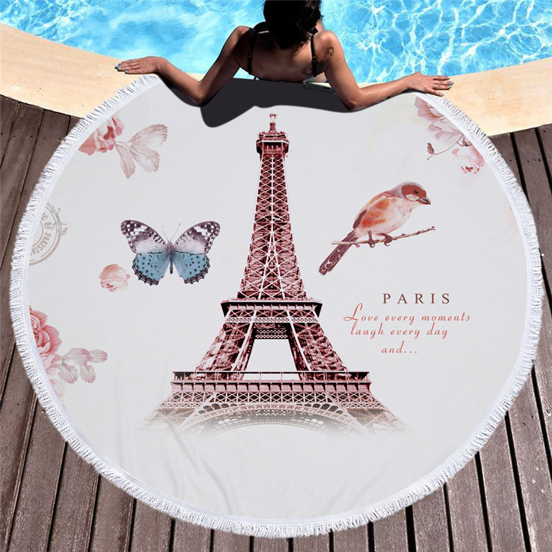 London/Paris Retro Stamp Microfiber Round Beach Towel with Tassel Large Bath Towels Sunbath Blanket Picnic Yoga Mat 150x150cm