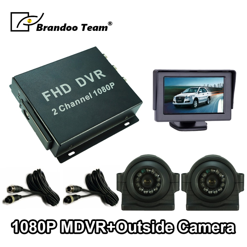Mdvr-Kit Side-View-Camera 2-Channel Mobile-Dvr 1080P Full-Hd AHD Waterproof for Bus-Truck-Fleet-Dvr-System