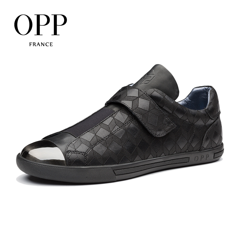 OPP Hook & Loop Flats Casual Shoes New 2018 Men Shoes Loafers For Men Metal Shoes Cow Leather Loafers footwear for Men top brand high quality genuine leather casual men shoes cow suede comfortable loafers soft breathable shoes men flats warm