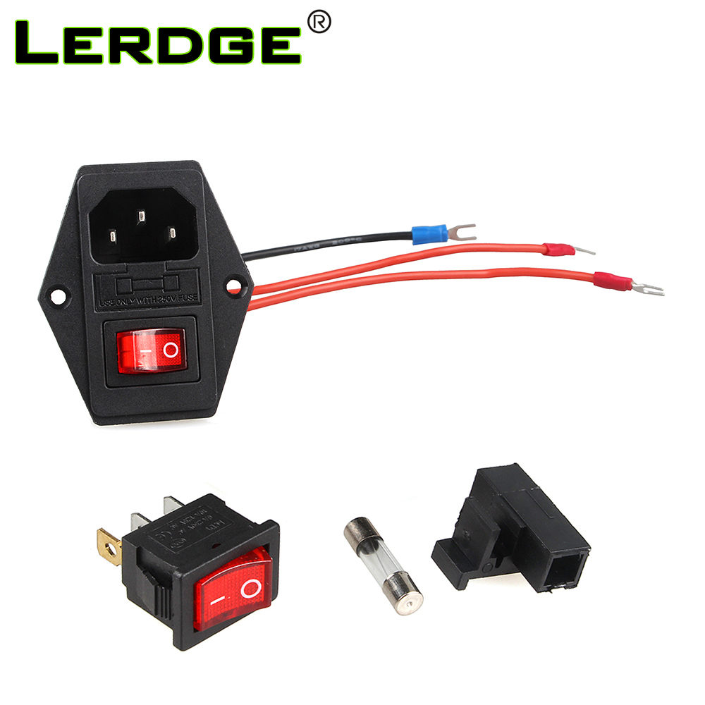 LERDGE Power Switch <font><b>220V</b></font>/110V <font><b>10A</b></font> power socket with triple Rocker Switch tripod feet of copper with <font><b>fuse</b></font> for 3d printer Parts image