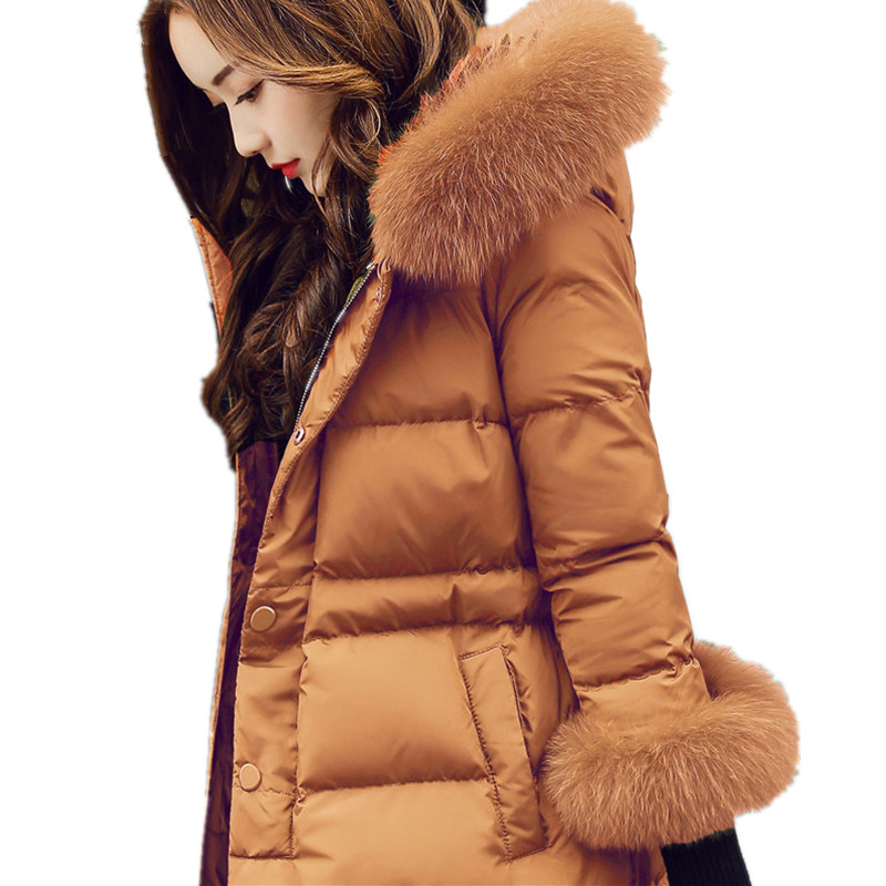 Real Fox Fur Warm Hooded Padded Jacket Women Solid Color Casual Manteau Femme Hiver Medium-long Parka Slim Coat Cotton TT3461