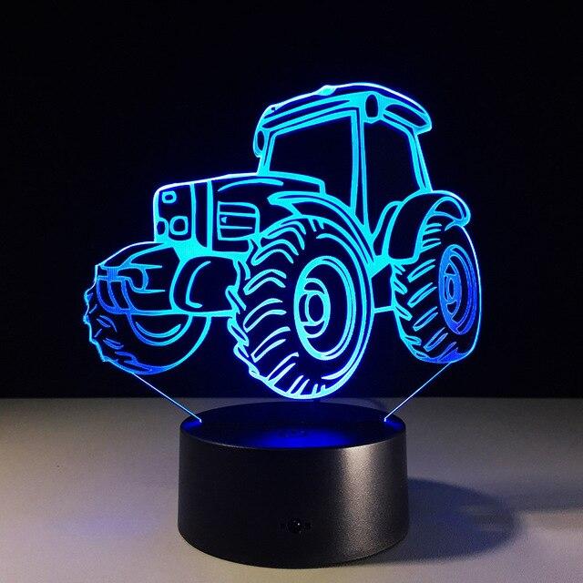 N667 3D Traktor Action Figure Modell Stil Led Lampe 7 Farbwechsel  Atmosphäre Schlafzimmer Lampe Home