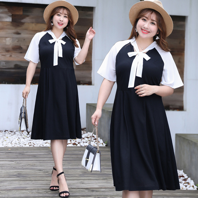 New Fashion Women Dresses Short Sleeve Tops Summer Dress Chic Loose Female Fat Girs Dresses Large Size womens clothing 1334