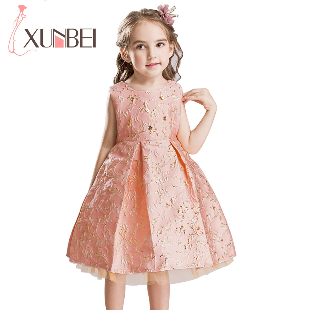 Pretty Gold Lace Embroidery Flower Girl Dresses 2018 Knee Length