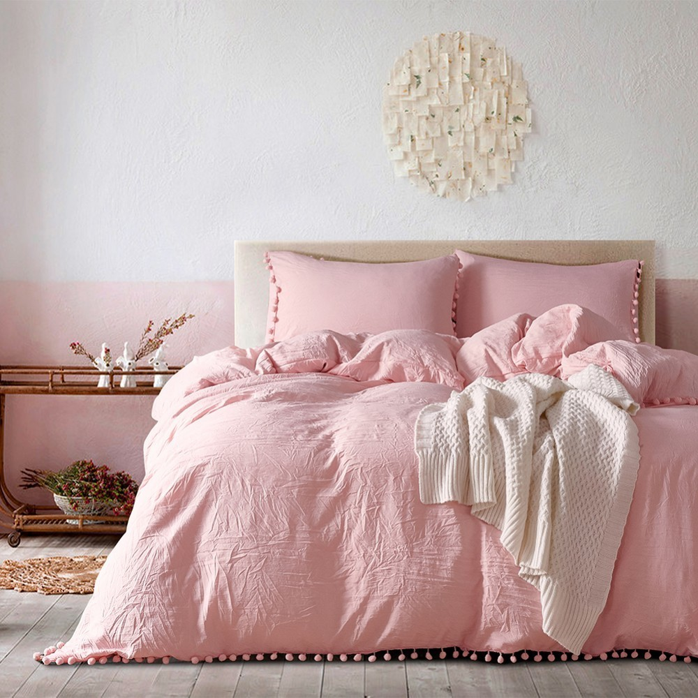 2/3pc Pink Princess Bedding Sets With Plush Ball Decorative Comfortable Home Bedclothes Twin Queen King Duvet Cover Pillowcase