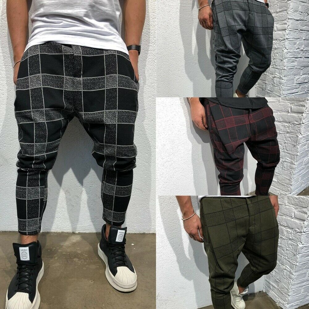 Fashion Men Casual Fitness Plaid Pant Straight Leg Trousers Pencil Casual Jogger Cargo Pants   Jeans