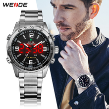 WEIDE Sport Analog LED Display Men Watches 30m Waterproof Stainless Steel Band Black Quartz Movement For Men Relogio Masculino weide watch repeater analog lcd digital display outdoor men sport quartz movement date stopwatch back light stainless steel band