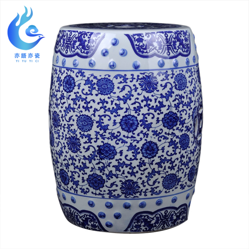 Jingdezhen ceramic stool blue and white porcelain stool sitting stool cool stool court cool stool drum stool sitting room stand(China)