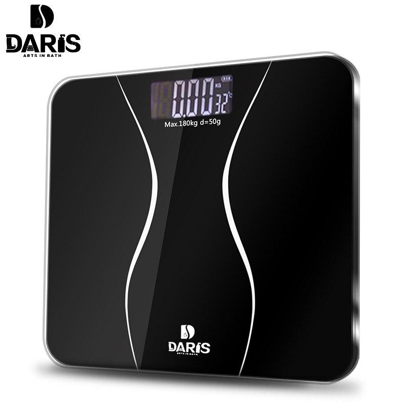 SDARISB Bathroom Scales Floor Body Smart Electric Digital Weight Health Balance Scale Toughened Glass LCD Display 180kg/50g