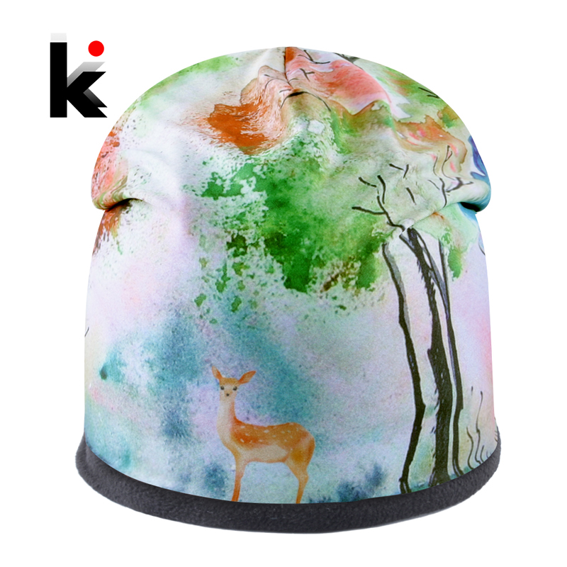 New Fashion Women Hat Beautiful Deer Printing Caps Girls Personality   Skullies     Beanies   Men Winter Outdoor Casual Ski Thick Bonnet