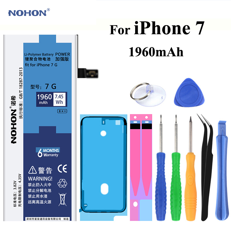 Original NOHON Battery for Apple iPhone 7 4.7 inch Real Capacity 1960mAh Replacement Mobile phone Bateria With Free Repair Tools