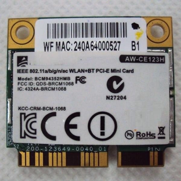 SSEA vente en gros pour Broadcom BCM94352HMB BCM 4352HMB 802.11ac 2.4G/5.0 GHz Mini PCI-E 867 Mbps WIFI BT Bluetooth 4.0 carte sans fil
