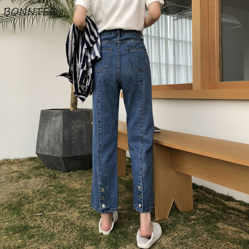 Jeans Women Single Breasted All-match Korean Style Straight Korean Style High Waist Womens Chic Pockets Students Leisure Trouser