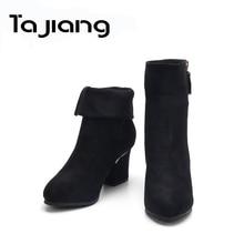 Ta Jiang Fashion Flock Ankle Boots Women Autumn Winter For Platform High Heels Shoes Woman