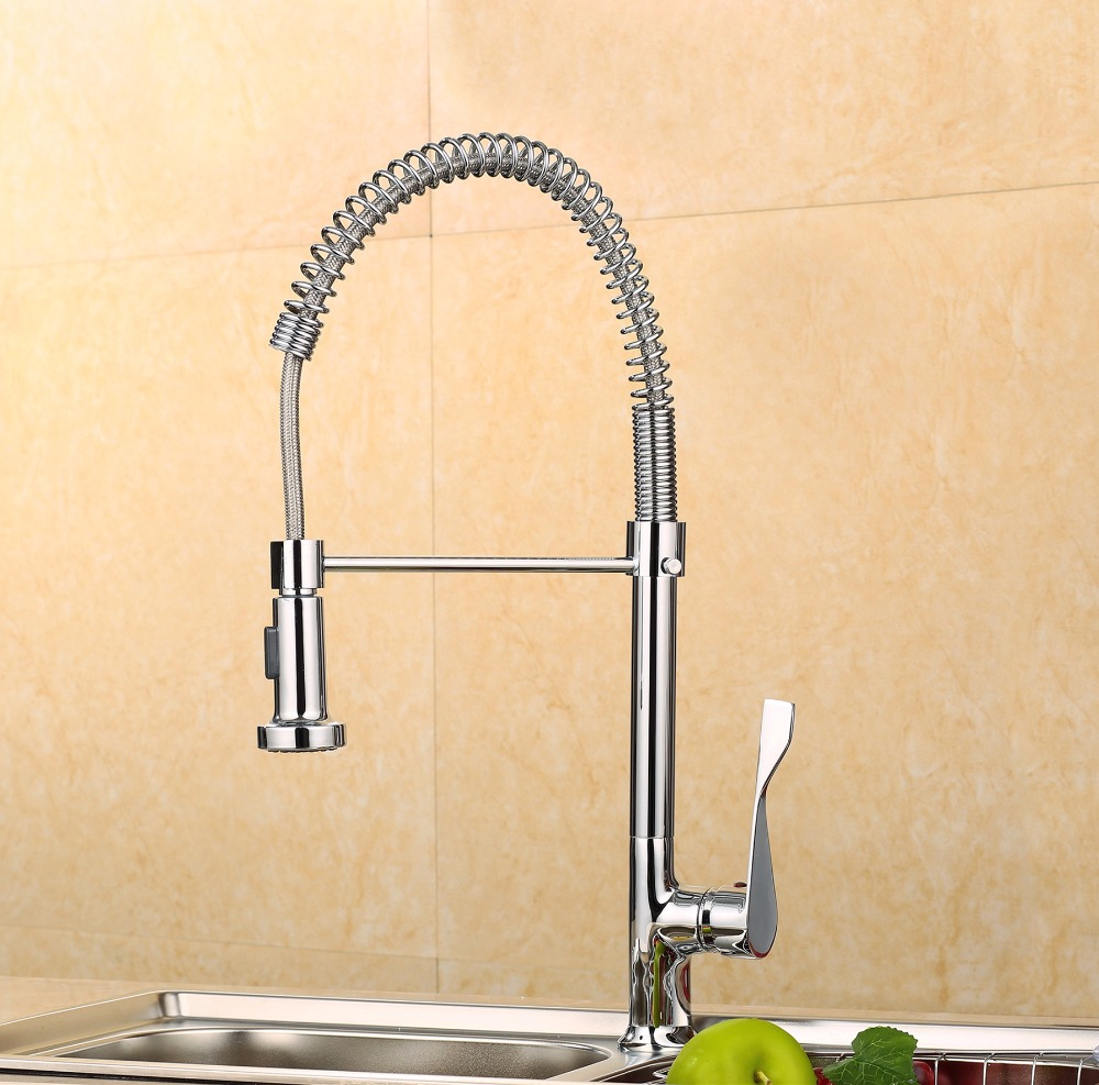 Quality Spring Pull Out Kitchen Sprayer Faucet/Top Brass Material Modern Chrome Design Hot And Cold Wash Basin Sink Mixer Tap kitchen chrome plated brass faucet single handle pull out pull down sink mixer hot and cold tap modern design