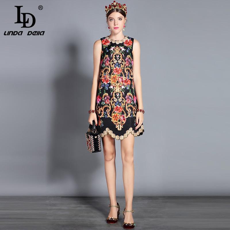 Image 2 - LD LINDA DELLA 2019 Autumn Fashion Runway Dress Women's Sleeveless Tank Retro Crystal Beading Floral Print Mini Vintage Dress-in Dresses from Women's Clothing