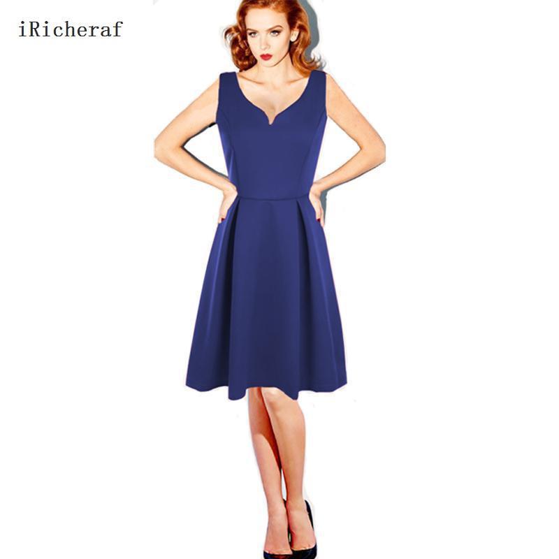 Iricherafエレガントオフィスドレス女性ボディコンvネック夏ファッションノースリーブスリムウエストレディースドレス服膝丈2xl